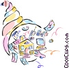 Vector Clip Art graphic  of a cornucopia with financial