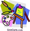 Vector Clip Art image  of an artist's easel with brushes