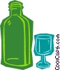 Vector Clipart illustration  of a bottle with glass