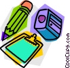 Vector Clip Art image  of a pencil with clipboard