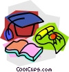 graduate's cap with book and diploma Vector Clip Art image