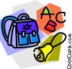Vector Clipart graphic  of a knapsack with school bell and