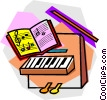 piano with music book Vector Clip Art picture