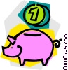 Vector Clip Art graphic  of a piggy bank