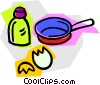 frying pan with egg and salt Vector Clip Art image