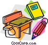Vector Clip Art graphic  of a school desk with book and