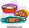 rolling pin with flour and croissant Vector Clipart graphic