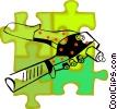 Vector Clip Art image  of a rivet gun