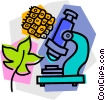 Vector Clip Art image  of a microscope with leaf