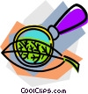 Vector Clipart graphic  of a leaf with magnifying glass
