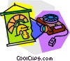 Vector Clipart graphic  of a projector with slide