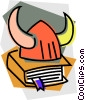 Vector Clipart graphic  of a Viking helmet with book