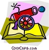 cannon with book Vector Clipart illustration