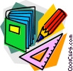 Mathematics book with pencil and ruler Vector Clipart illustration