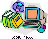 Vector Clip Art graphic  of a computer with books and CD