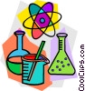 beakers with atomic symbol Vector Clipart illustration
