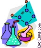 Vector Clip Art image  of a flasks with molecular diagram