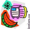 watermelon with refrigerator Vector Clipart illustration