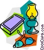 reading light with book and eyeglasses Vector Clip Art image