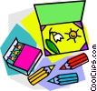 Vector Clip Art graphic  of a colored pencils with drawing