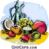 Vector Clip Art image  of an Assorted tropical fruit with