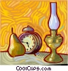 alarm clock, oil lantern Vector Clipart picture