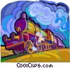 Vector Clip Art graphic  of a Steam locomotive
