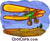 Vector Clip Art graphic  of a Single engine airplane