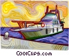 Yacht docked in marina Vector Clipart illustration