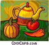 Vector Clip Art graphic  of a Tea pot with squash, hot pepper