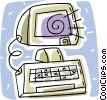 Vector Clip Art graphic  of a desktop computer