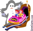 Vector Clip Art graphic  of a haunted house ride