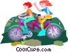 two man bicycle Vector Clipart illustration
