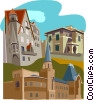 European buildings Vector Clipart illustration