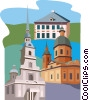 Vector Clip Art image  of a European buildings