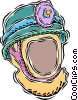 Vector Clip Art image  of a miner's safety helmet