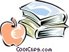 books with a apple Vector Clip Art graphic