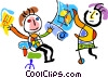 Vector Clip Art image  of a sharing ideas