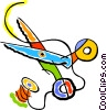 needle, thread, scissors, sewing Vector Clipart picture