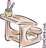 Vector Clip Art image  of a students desk