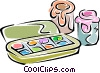 Vector Clip Art image  of a paint set