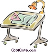 Vector Clipart graphic  of a drafting table