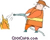 fire man battling a blaze Vector Clip Art graphic