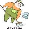 janitor cleaning floors Vector Clip Art image