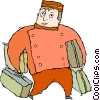 Vector Clipart graphic  of a bell boy