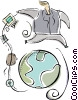 Vector Clipart picture  of a global communications