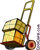 Vector Clip Art image  of a cart with boxes