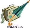 Vector Clip Art graphic  of a briefcase and a umbrella