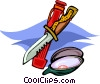oyster with shucking tools Vector Clipart illustration