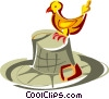 Vector Clip Art picture  of a Bird standing on a hat
